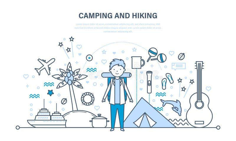 Располагаться лагерем и пеший туризм Перемещение лета, пешее оборудование, активные остатки outdoors иллюстрация штока