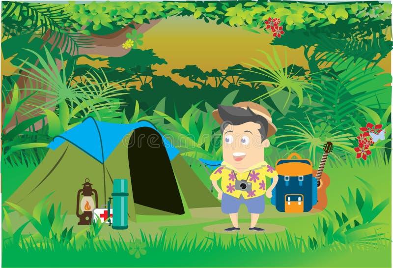 располагаться лагерем путешественника иллюстрация штока