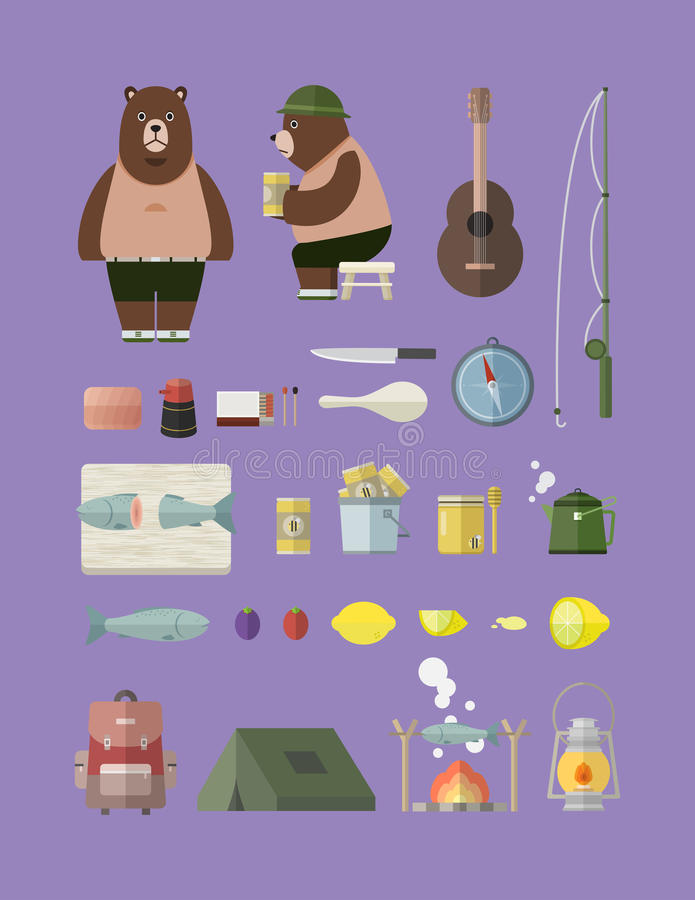 Располагаться лагерем с комплектом медведя стоковое изображение rf