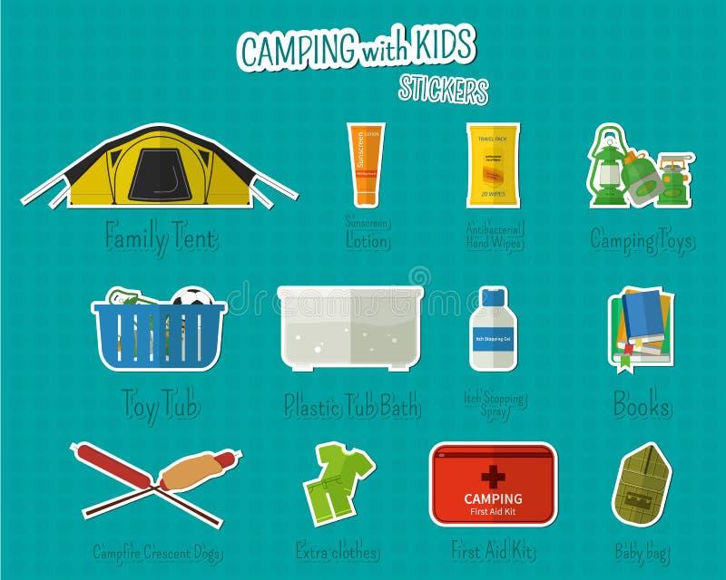 Располагаться лагерем с стикерами и ярлыками детей Комплект квартиры иллюстрация вектора