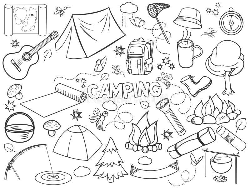 Располагаясь лагерем вектор комплекта дизайна бесцветный бесплатная иллюстрация