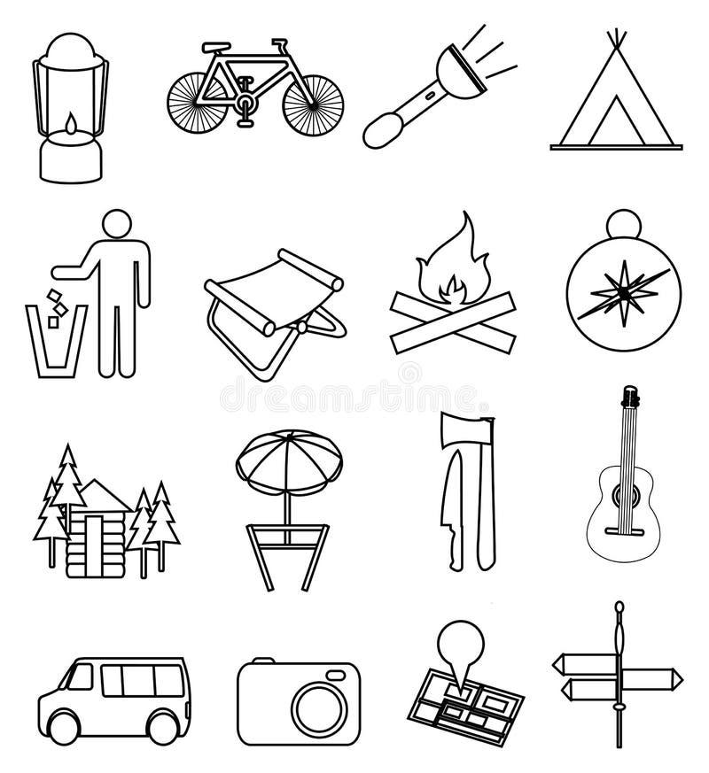 Располагаясь лагерем линия установленные значки бесплатная иллюстрация