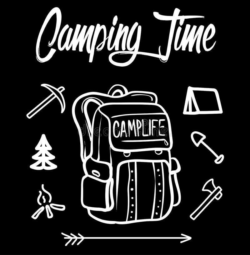 Располагаясь лагерем иллюстрация времени, полно масштабируемая Используйте его для печати футболки, изменяйте цвета и текст покра стоковые фото