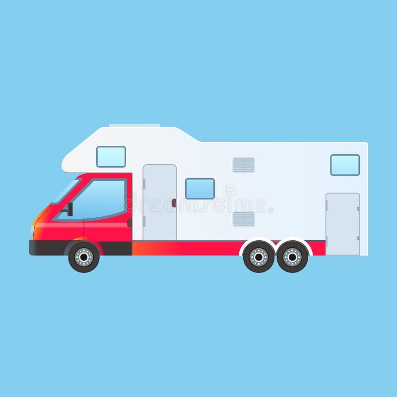 Располагаясь лагерем караван семьи трейлера RV иллюстрация вектора