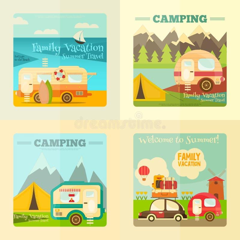 Располагаясь лагерем комплект каравана иллюстрация штока