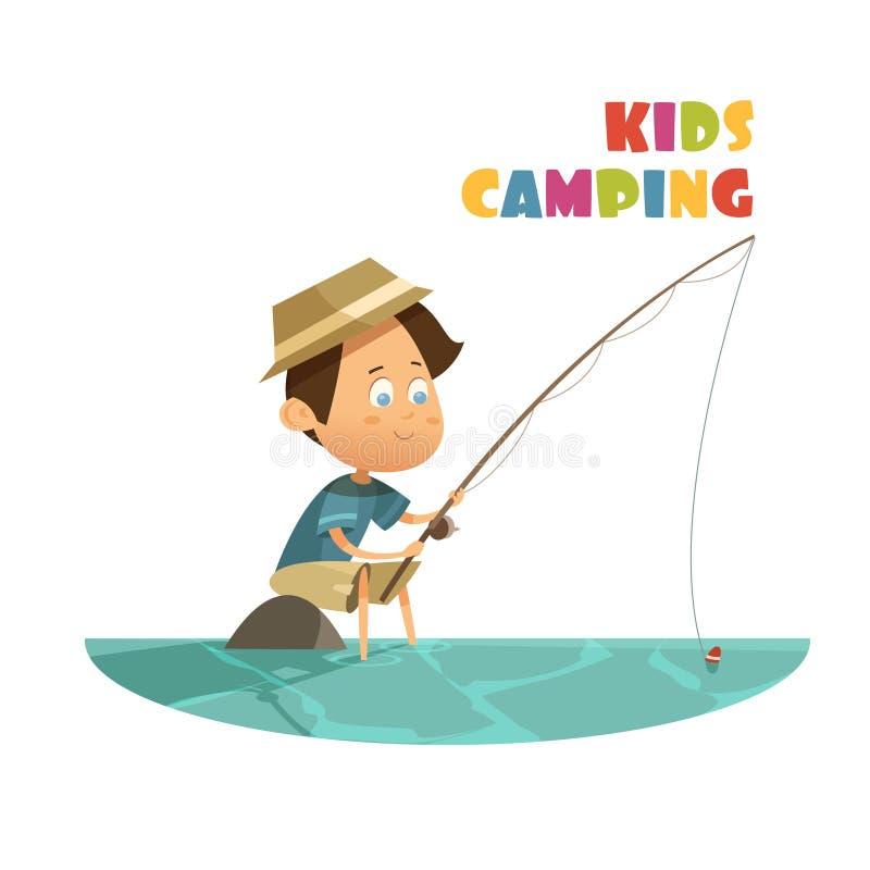 Располагаясь лагерем концепция детей иллюстрация штока