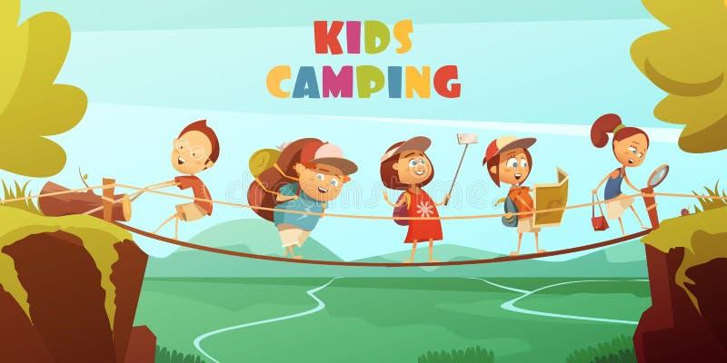 Располагаясь лагерем предпосылка детей бесплатная иллюстрация