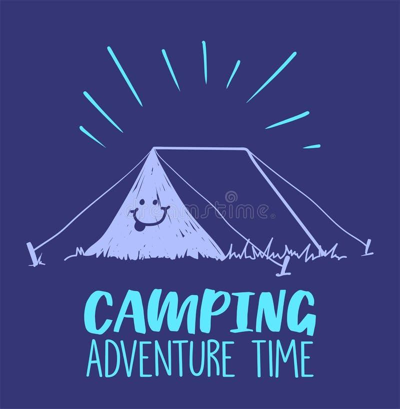 Располагаясь лагерем приключение приурочивает иллюстрацию с шатром и улыбкой на ем Покрашенная иллюстрация стоковые фотографии rf