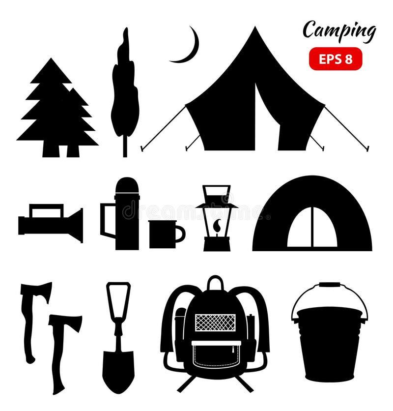 Располагаясь лагерем собрание значков пикника бесплатная иллюстрация