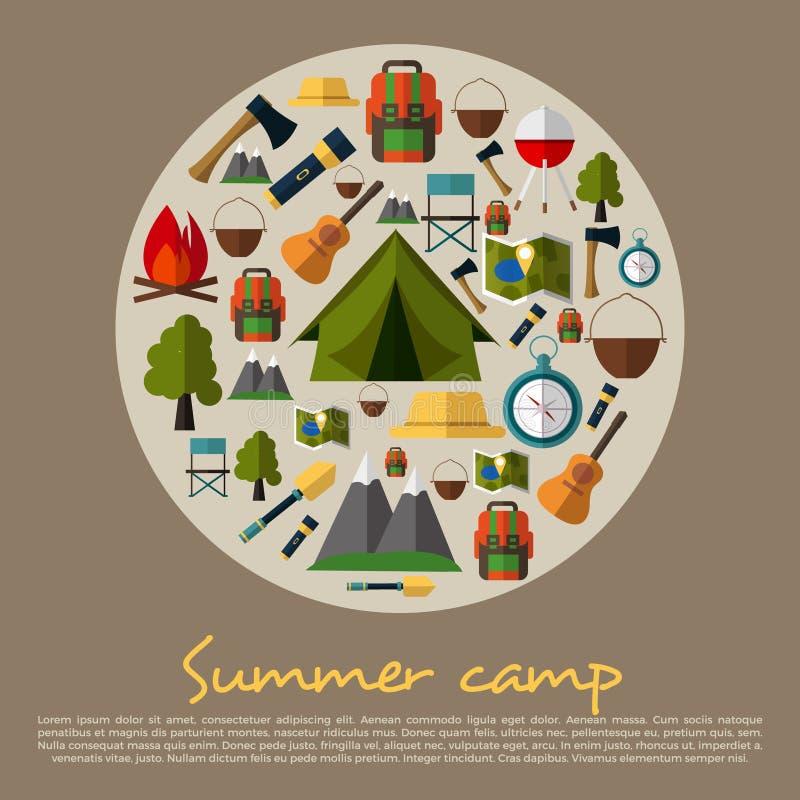 Располагаясь лагерем собрание значков Располагаться лагерем лета Лагерь горы Иллюстрация вектора в плоском стиле дизайна Шатер, к бесплатная иллюстрация