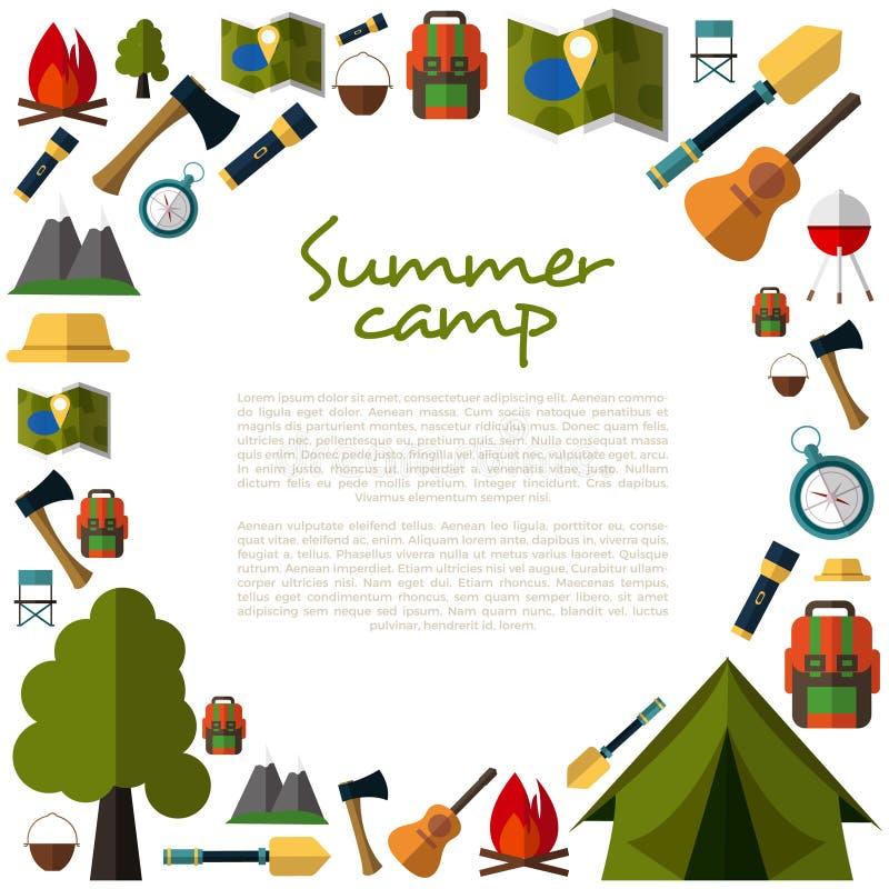 Располагаясь лагерем собрание значков Располагаться лагерем лета Лагерь горы иллюстрация штока