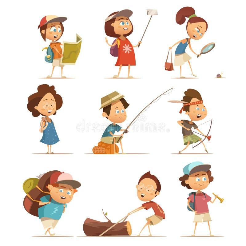 Располагаясь лагерем установленные значки детей бесплатная иллюстрация