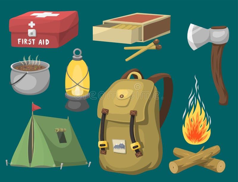 Располагаясь лагерем шестерня базового лагеря оборудования и шарж аксессуаров внешний путешествуют иллюстрация вектора иллюстрация вектора