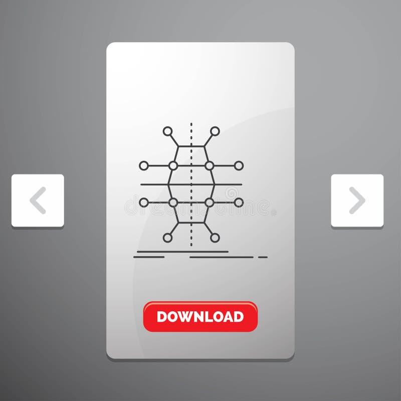 Распределение, решетка, инфраструктура, сеть, умная линия значок в дизайне слайдера пагинаций Carousal & красная кнопка загрузки иллюстрация штока