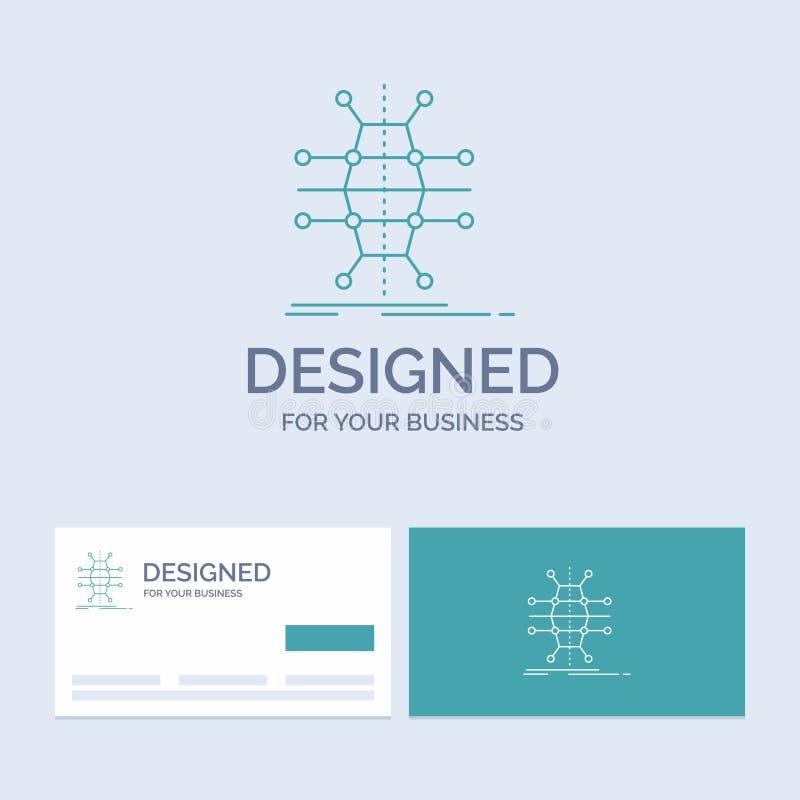 Распределение, решетка, инфраструктура, сеть, умная линия символ логотипа дела значка для вашего дела Визитные карточки бирюзы с бесплатная иллюстрация