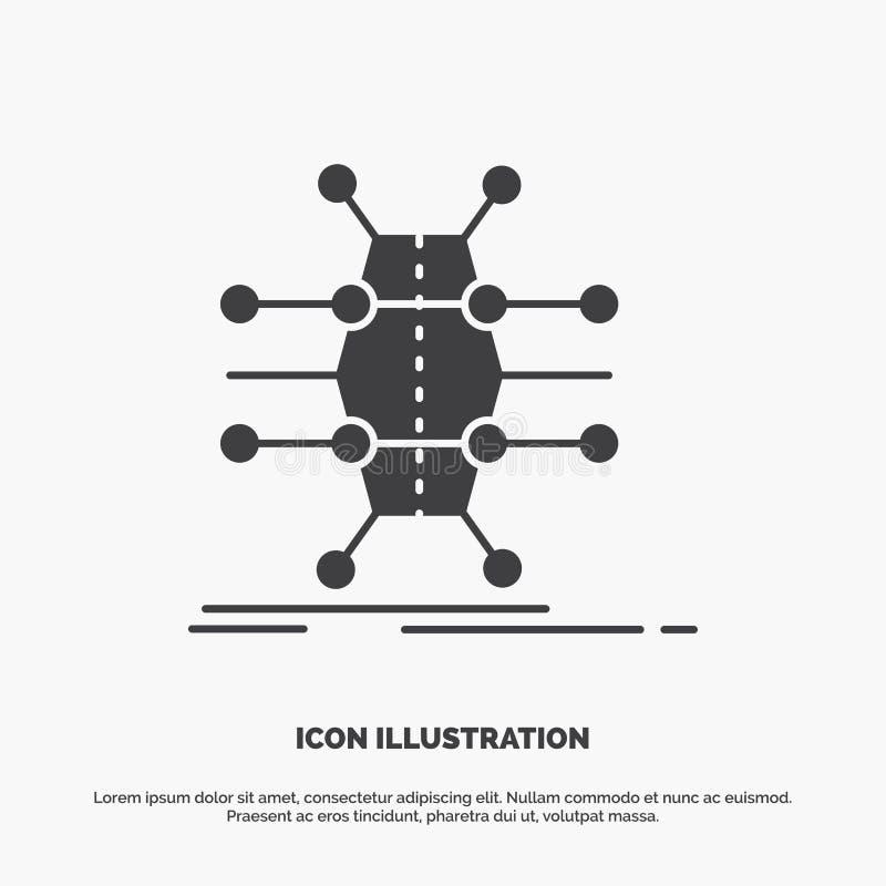 Распределение, решетка, инфраструктура, сеть, умный значок символ вектора глифа серый для UI и UX, вебсайта или мобильного примен бесплатная иллюстрация