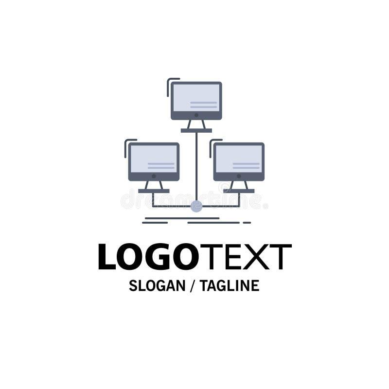 распределенная база данных, соединение, сеть, вектор значка цвета компьютера плоский иллюстрация штока