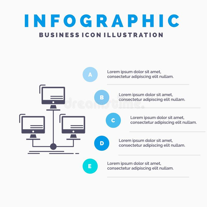 распределенная база данных, соединение, сеть, шаблон Infographics компьютера для вебсайта и представление r иллюстрация штока