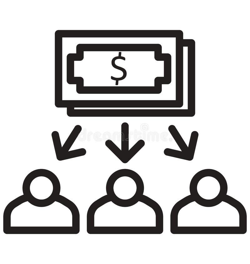 Распределите деньги, способствуйте, линию изолированный значок доллара можно легко доработать и редактировать иллюстрация вектора