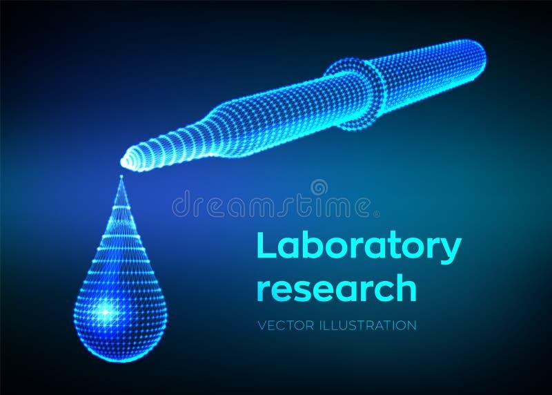 Распределяя пипетка с вытекая падением Лабораторные исследования Пипетка Wireframe медицинская с жидкостью и падая капелькой науч иллюстрация штока