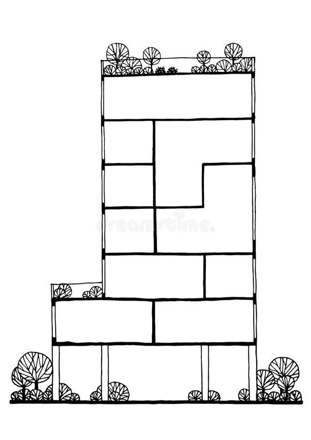 Распределите здание дизайна концепции, нарисованную руку иллюстрации вектора бесплатная иллюстрация