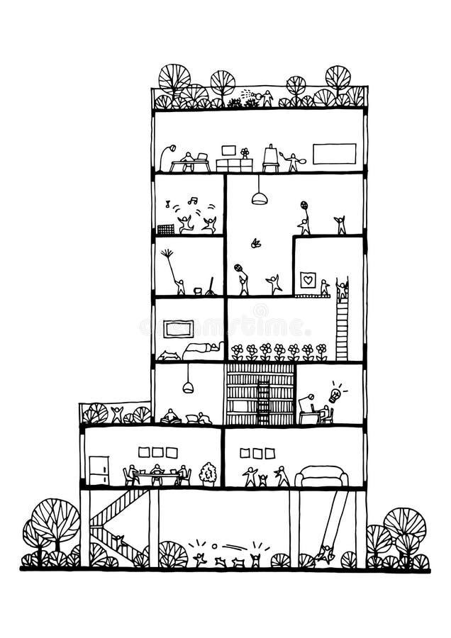 Распределите образ жизни здания и людей дизайна концепции, вектор иллюстрация штока