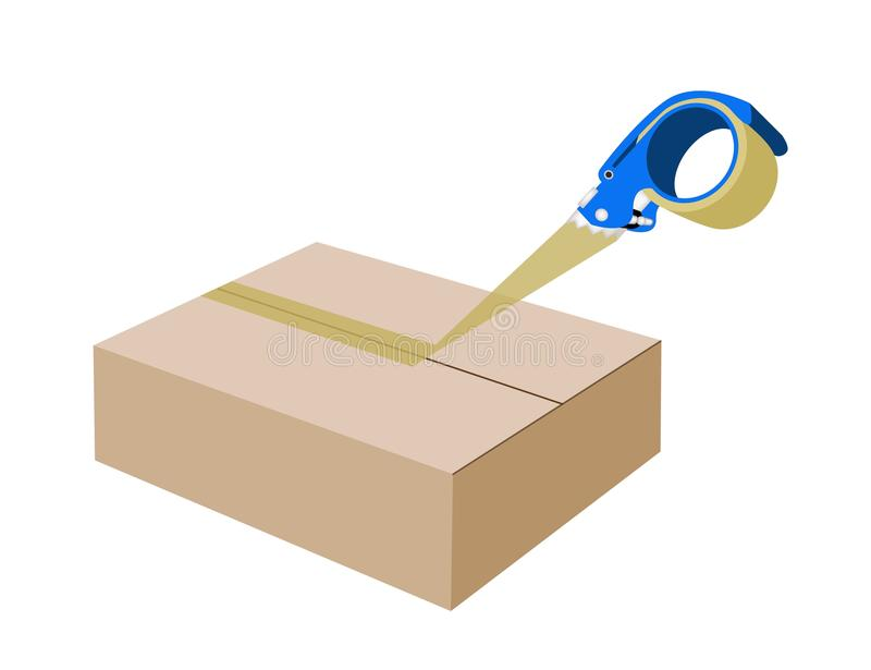 Распределитель клейкой ленты закрывая картонную коробку иллюстрация вектора