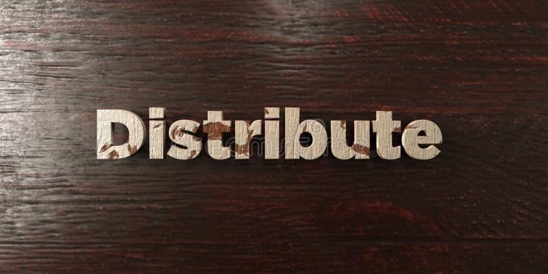 Распределите - grungy деревянный заголовок на клене - представленное 3D изображение неизрасходованного запаса королевской власти иллюстрация штока
