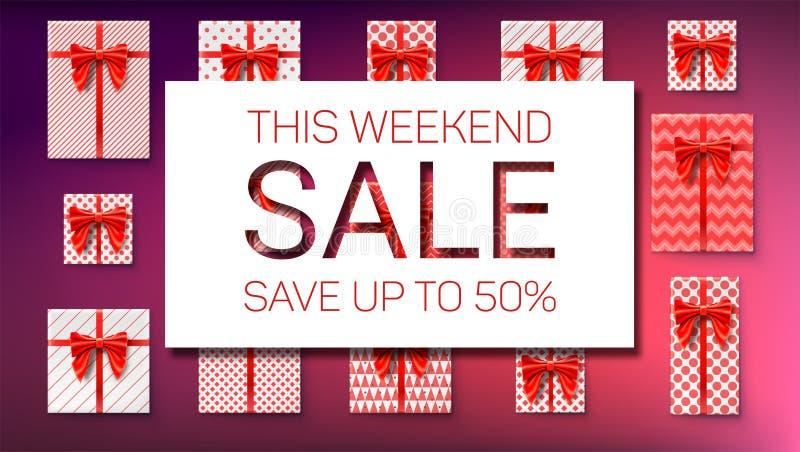 Распродажа на выходных Сохраните до 50 процентов Взгляд сверху на подарочных коробках в оболочке в бумаге с картинами Пакеты праз иллюстрация вектора