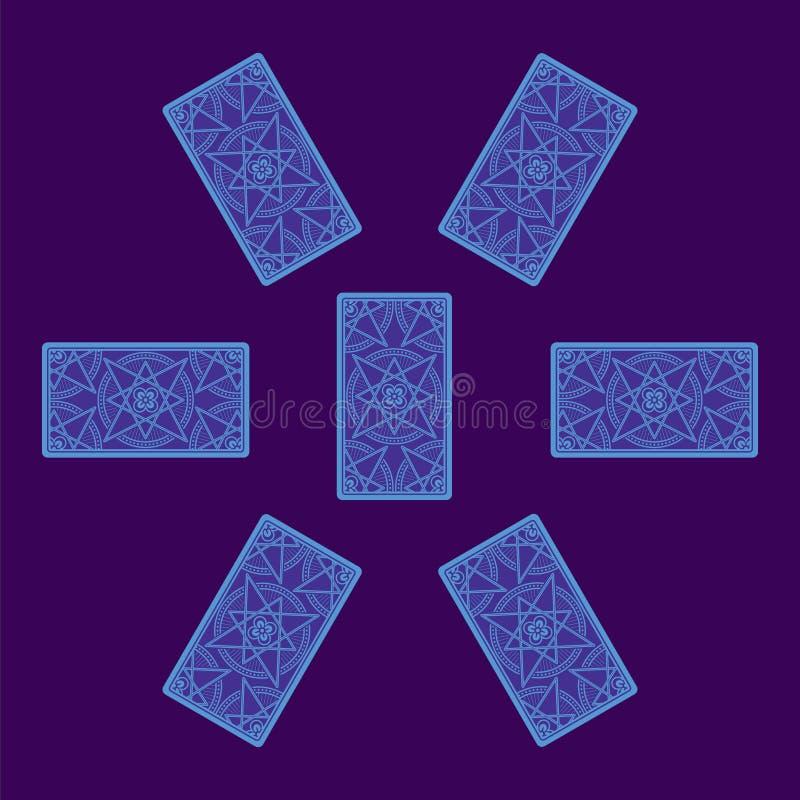 Распространение карточки Tarot Обратная сторона иллюстрация вектора