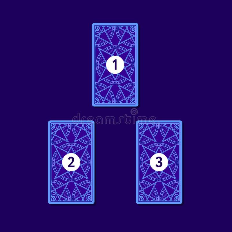 Распространение карточки tarot 3 Обратная сторона иллюстрация вектора