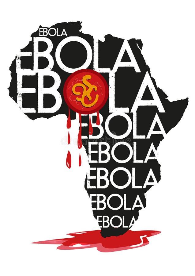 Распространения ируса Эбола убийцы от карты Африки иллюстрация вектора