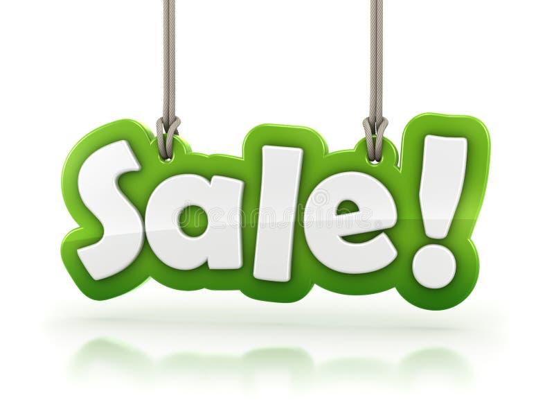 Распродажа! зеленый текст слова на белой предпосылке иллюстрация вектора