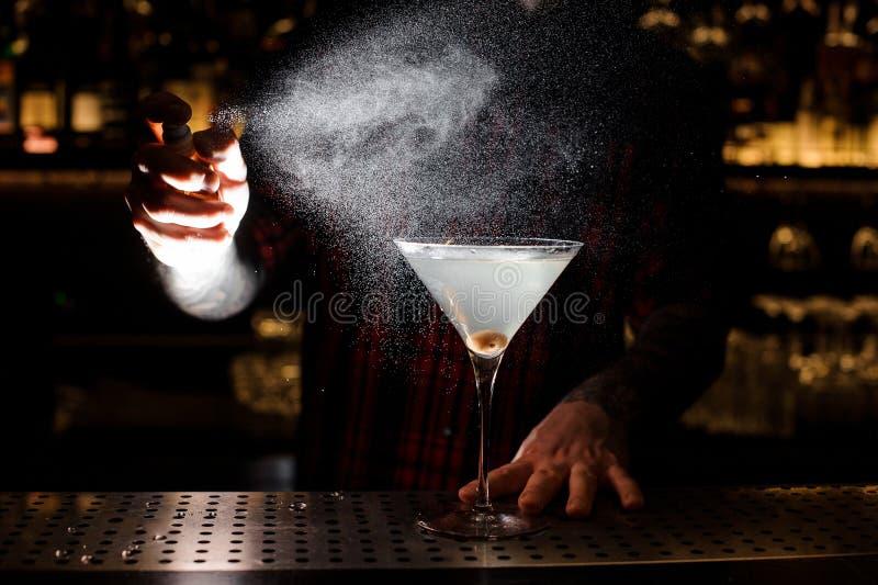 Распылять бармена горький на элегантном стекле со свежим Мартином стоковая фотография rf