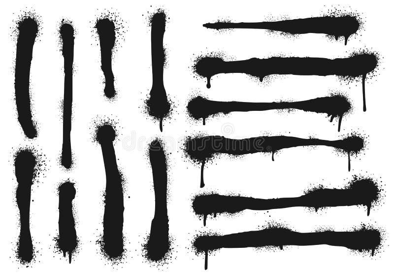 Распылённые краской линии с капельками краски Граффити-краска, сплав-чертежи и грязные уличные художественные векторы иллюстрация вектора