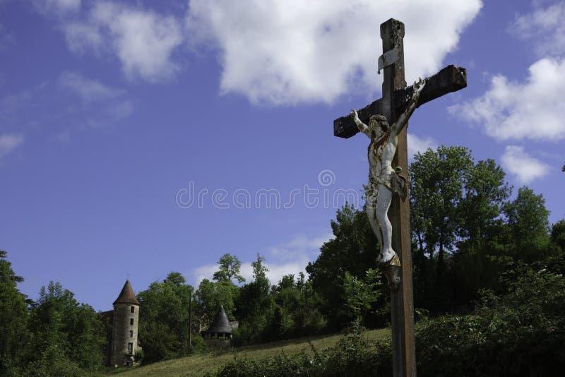 Распятие во французской сельской местности стоковая фотография rf