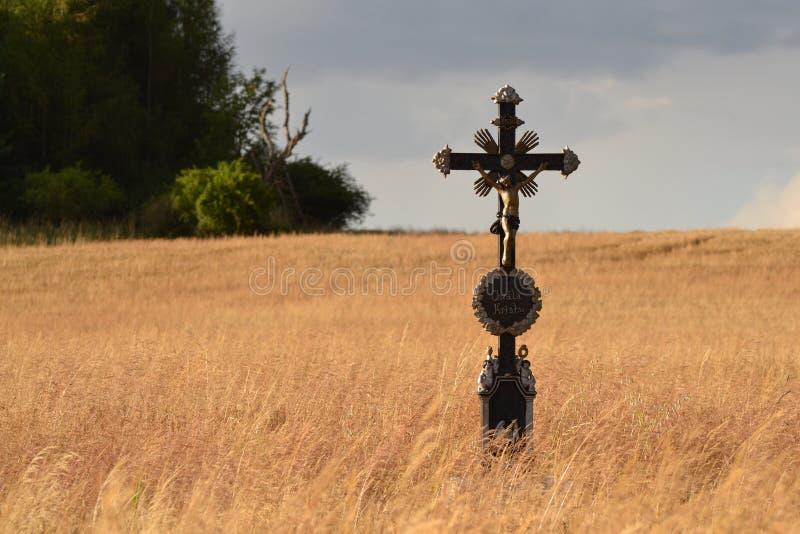 Распятие в поле стоковое фото