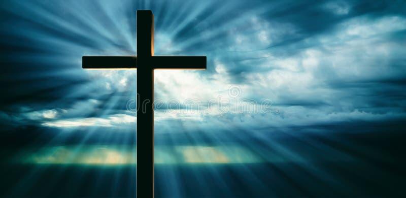 Распятие Иисуса Христоса, деревянного креста, неба на предпосылке захода солнца иллюстрация 3d иллюстрация штока