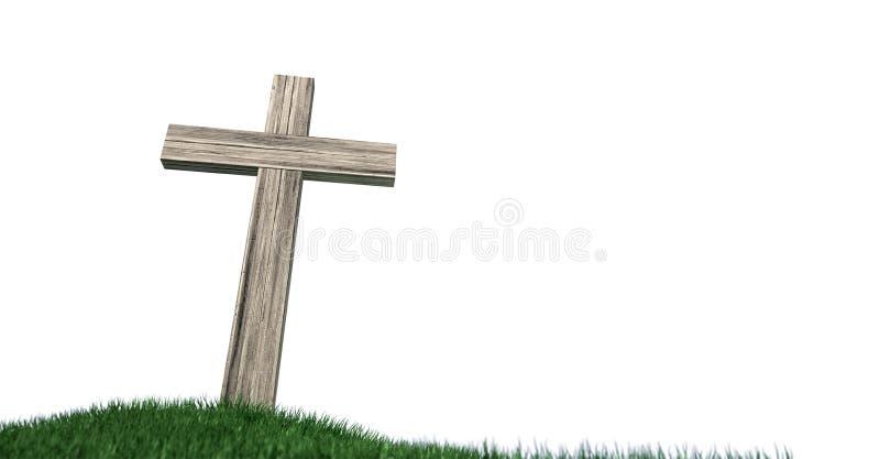 Распятие на травянистом изолированном холме иллюстрация вектора