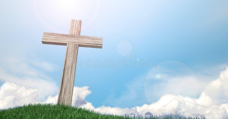 Распятие на травянистом холме и голубом небе иллюстрация штока