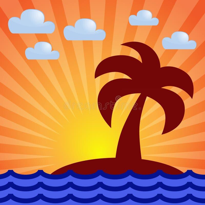 Рассвет, море, остров, ладонь иллюстрация штока