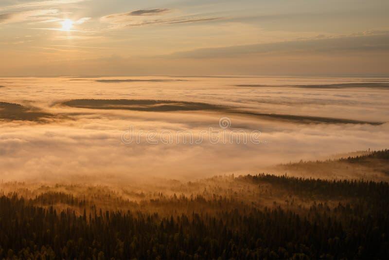Рассвет над туманной долиной стоковые изображения rf