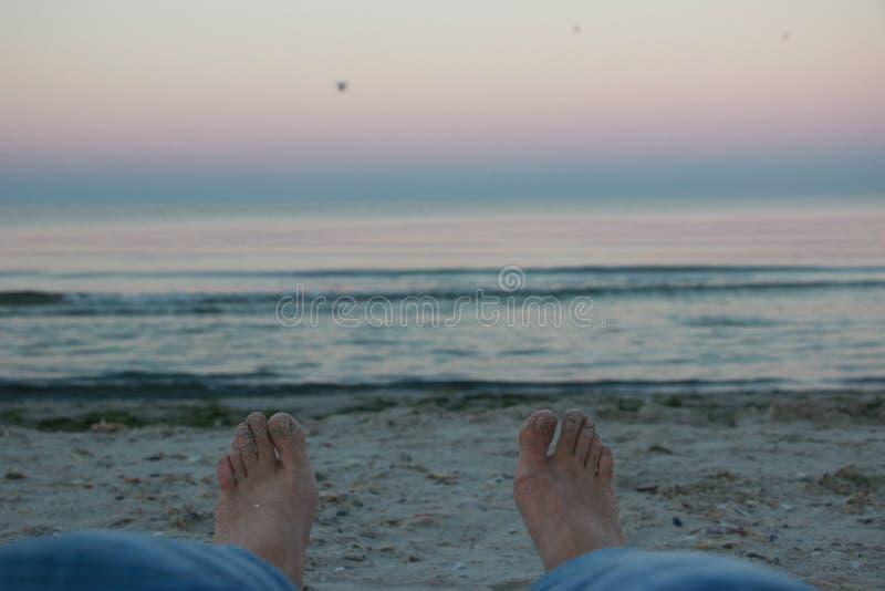 Рассвет на береге Чёрного моря на вертеле Kinburn стоковое фото