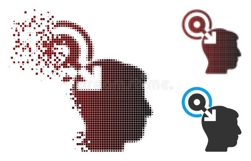 Рассеиванный значок Plug-In интерфейса мозга полутонового изображения пиксела иллюстрация вектора