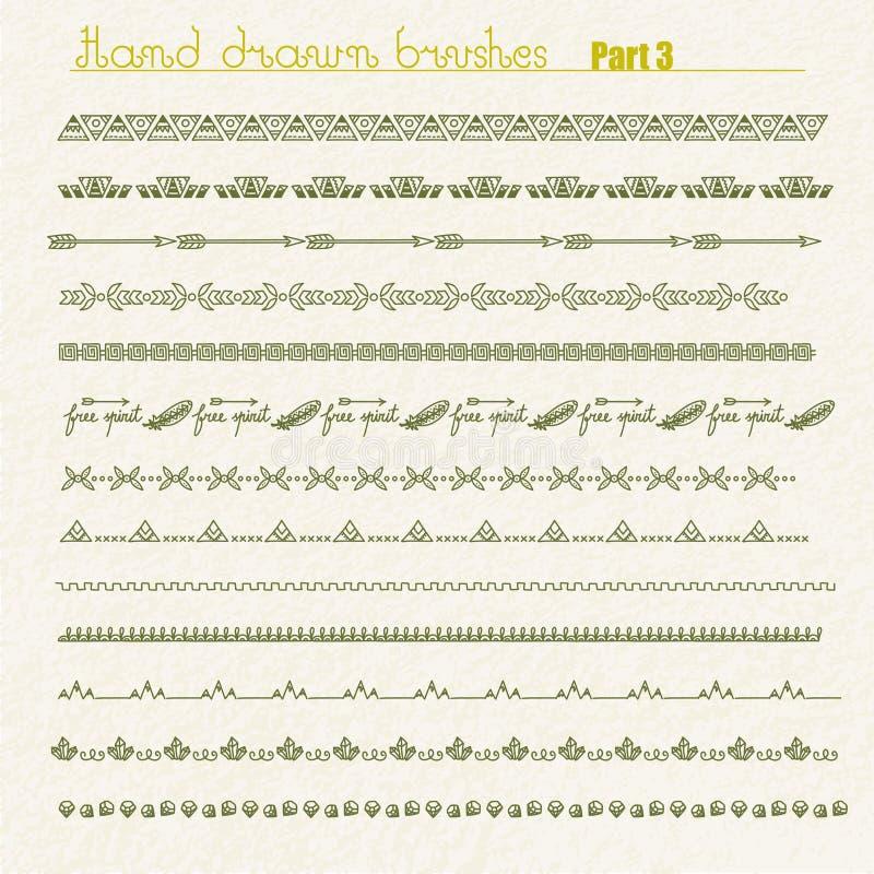 Рассекатели и границы нарисованные рукой иллюстрация вектора
