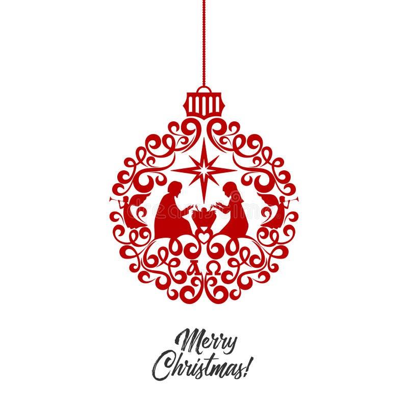 Рассказ рождества Mary и Иосиф с младенцем Иисусом Хорошие новости глашатого ангелов рождество шарика стилизованное иллюстрация вектора