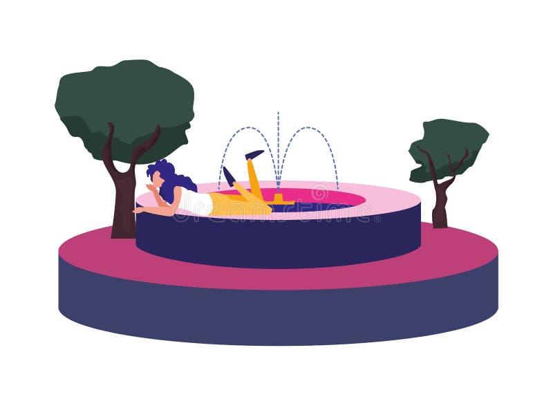 Расслабленная женщина в фонтане на открытом воздухе иллюстрация вектора