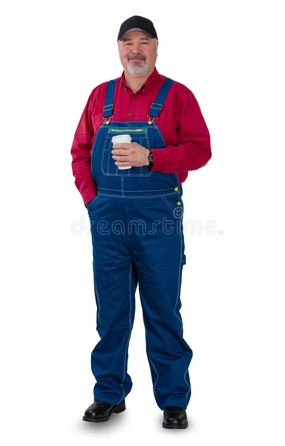 Расслабленный уверенно фермер, садовник лейбориста стоковое фото rf