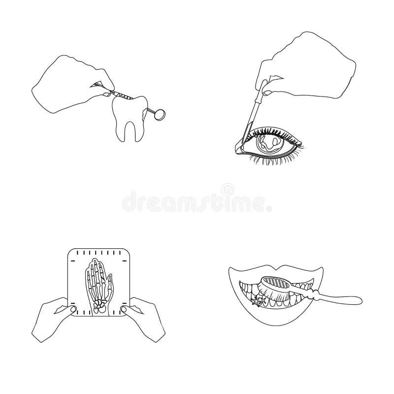 Рассмотрение зуба, инстилляция глаза и другой значок сети в стиле плана Снимок руки, зубов иллюстрация штока