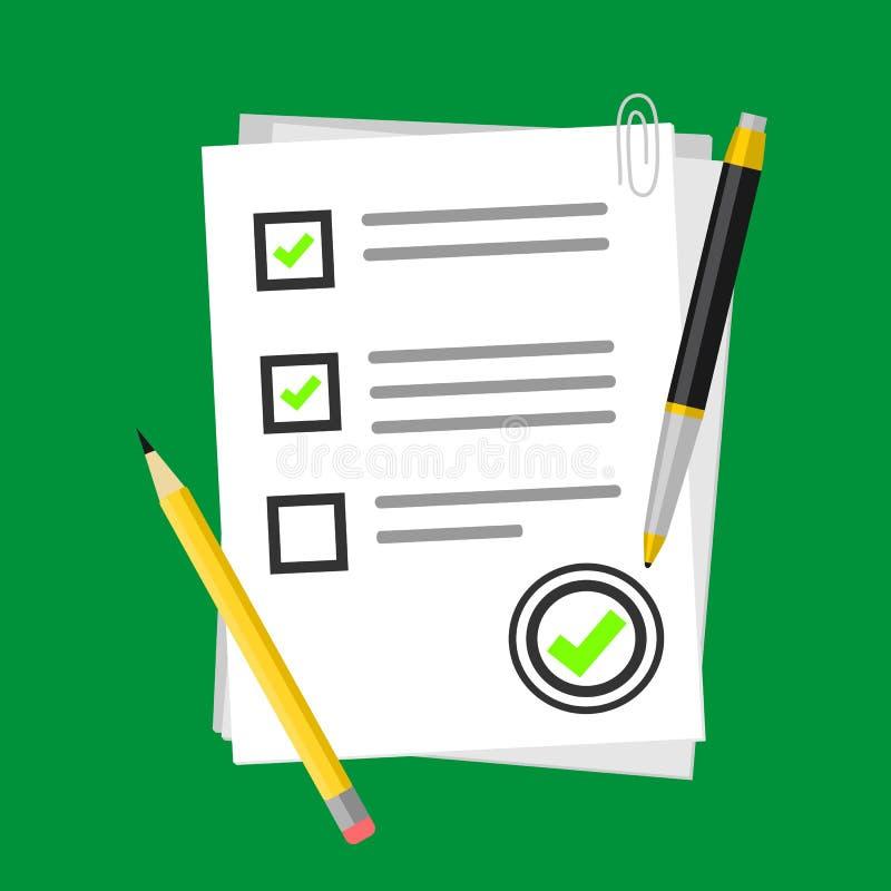 Рассмотрение иллюстрации вектора результатов теста экзамена школы с символом формы бумаги викторины и карандашем или ручкой, плос иллюстрация штока